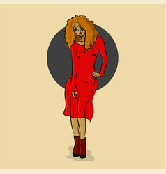 woman in red dress posing eps 8 vector image