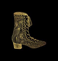 Woman sandals or lady shoe golden ornament vector