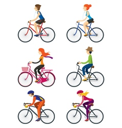 Bicycle Riders Man Woman People vector image vector image