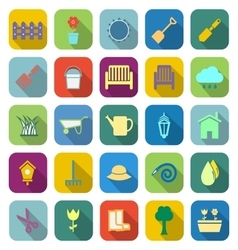 Gardening color icons with long shadow vector image