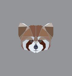 geometric red panda head vector image vector image