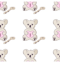 Koala with heart and key seamless pattern vector image