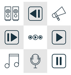 set of 9 multimedia icons includes mike music vector image vector image