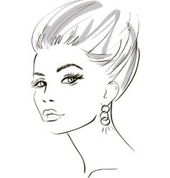 stylish woman sketch vector image