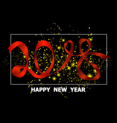 2018 happy new year red ribbon and golden paper vector image vector image