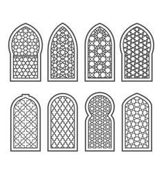 arabian window with ornament - grating decorated vector image vector image