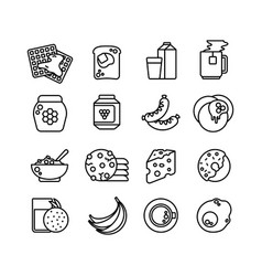 breakfast hot meal line icons vector image vector image