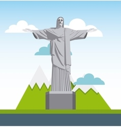 Corcovado christ statue isolated icon vector