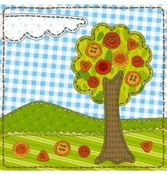 Funny Patchwork with Tree and Buttons vector image