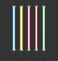 neon tube light set isolated on background vector image