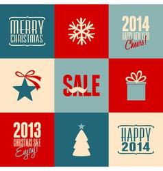 retro design christmas cards set vector image