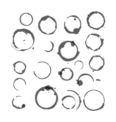 set of Black silhouette Wine stain circles vector image
