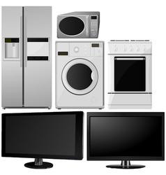 set of of household appliances vector image