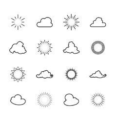Set of Sun and Cloud Shapes Line Style vector image