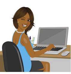 african american woman sitting in office vector image