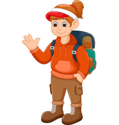 beauty backpacker cartoon standing with waving vector image vector image