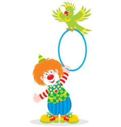 Circus clown and parrot vector image vector image