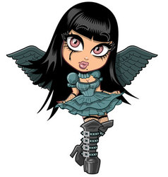 Cute Goth Girl With Wings vector image