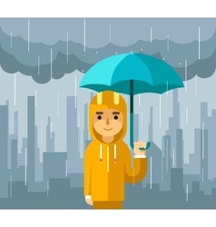 Under rain with umbrella Man vector image