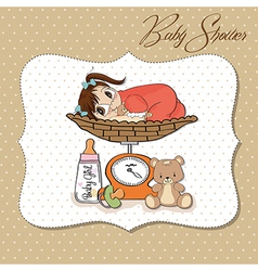 Beautiful baby girl on on weighing scale vector