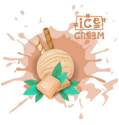 ice cream white chocolate ball dessert choose your vector image