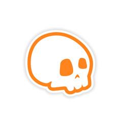 Icon sticker realistic design on paper skull vector