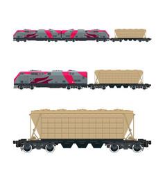 pink locomotive with hopper car on platform vector image vector image