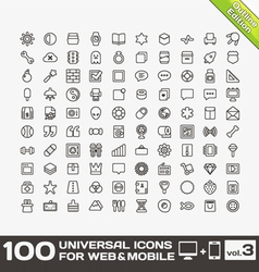 100 Universal Icons For Web and Mobile volume 3 vector image