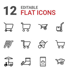 12 cart icons vector
