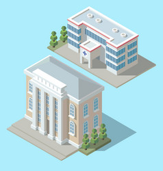 3d isometric hospital cartoon ambulance vector image