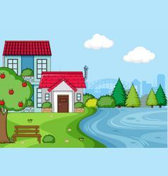 A simple house landscape vector