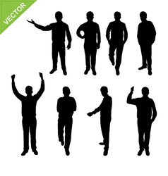 Actions business man silhouettes vector