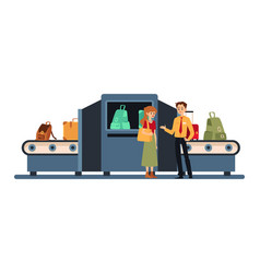 airport baggage security check machine - cartoon vector image