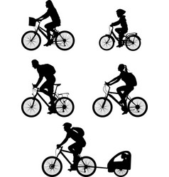 Bicyclist silhouettes collection vector