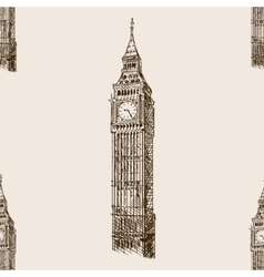 Big Ben hand drawn sketch seamless pattern vector image
