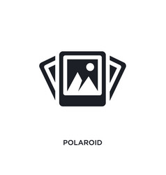 Black polaroid isolated icon simple element from vector