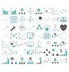 Business Charts With Rhombus Dots Icons vector