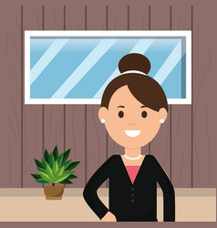 business woman professional work window potted vector image