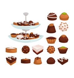cakes and cookies or candies with chocolate or vector image