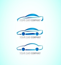 Car auto logo icon set blue 3d vector