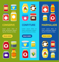 cartoon canned and jar food banner vecrtical set vector image