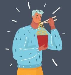 cartoon man eat noodle human vector image