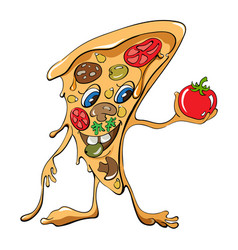 Cartoon pizza slice with sausage and vegetables vector