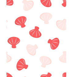 cartoon seamless pattern with cute ocean shells vector image