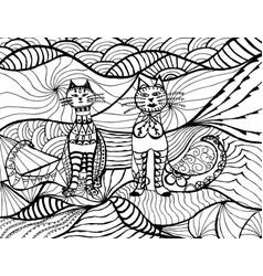 cat black white zen art hand drawn fat vector image