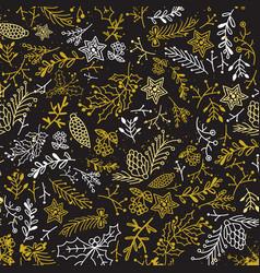 christmas botanical hand drawn template vector image