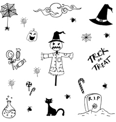 Collection halloween doodle vector
