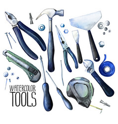 collection of watercolor tools vector image