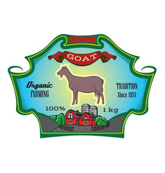 Color label for packing with goat and farm vector