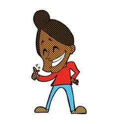 Comic cartoon man snapping fingers vector
